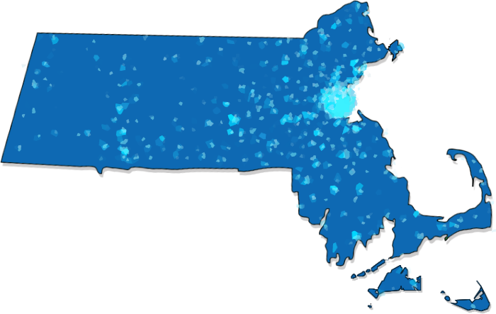 Heatmap of Readers in Massachusetts